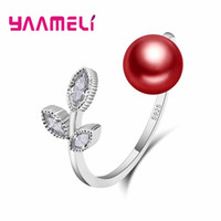 Wholesale leaf shaped beads - YAAMELI Brand New Luxury Women 925 Sterling Silver Rings Leaf Shape Adjustable With Red Pearl Beads Female Finger Ring