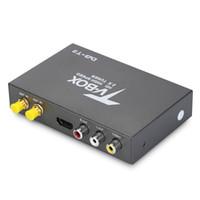 receptor tuner tv carro venda por atacado-H.26 HD DVB do tevê do carro - caixa de alta velocidade móvel da televisão do carro da antena do amplificador 2 do receptor 2 da tevê do carro do T2