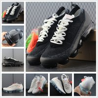 Wholesale female shoe designers - Vapormaxes 2018 Mens Running Shoes For Trainers Women Sports Shoes Human Race New Vapor Wave Male Shoe Triple Black Female Designer Shoe