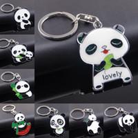 Wholesale panda keychains - Wholesale 8 Styles National Treasure Panda Themed Pendant Keychains Panda Keyring Creative Cartoon Keyfob Support FBA Drop Shipping G662Q