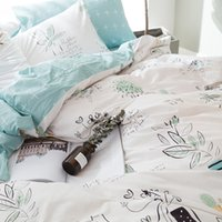 Wholesale king size flowered cotton sheets - Blue Flower Printing 100% Coon Bedding Sets Home Use Bed Sheet Duvet Cover 2 Pillowcase Queen King Size Bedding Set