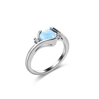 Wholesale heart shape ring ladies - 1PC Heart Love Ring Lady Engagement O Bao Ring Heart Shape Opal Fashion Charm Jewelry Accessories Wedding Engagement