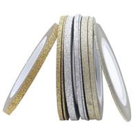 aufkleber nagellack tipps großhandel-1 Satz DIY 14 Farben Nagel UV Gel Polish Gold Silber Matte Rollen Striping Tape Linie Nail art Tipps Dekoration Aufkleber Geschenk 1/2 / 3mm