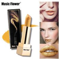 Wholesale professional lipsticks resale online - Professional Music Flower Brand Make Up Multi effect Micro Gold Color Lipstick Long lasting Lip Stick Shiny Lips Cheek Brighten