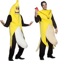 engraçado fantasia vestido para homens venda por atacado-Homens Cosplay Adulto Fancy Dress Engraçado Banana Traje novidade do dia das bruxas Natal decorações da festa de carnaval