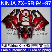 95 zx 9r verkleidungen großhandel-Gehäuse für KAWASAKI NINJA ZX900 ZX 9R ALL Glänzend rot heiß 1994 1995 1996 1997 221HM.29 ZX 9 R 900 900CC ZX-9R 94 97 ZX9R 94 95 96 97 Verkleidungssatz