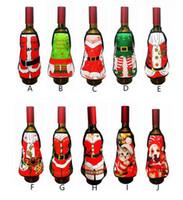 delantal sexy vestido al por mayor-Caliente Festivo Pequeño delantal botella Vino Cubierta Navidad Sexy Dama / Perro de Navidad / Papá Noel envoltorio botella de vino tinto Botella de vacaciones ropa Vestido