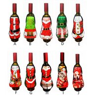 Wholesale santa cloth clothes resale online - Hot Festive Small Apron bottle Wine Cover Christmas Sexy Lady Xmas Dog Santa Pinafore red wine bottle wrapper Holiday Bottle clothes Dress