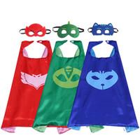 niños cosplay chicos disfraces al por mayor-27 pulgadas PJ traje satinado superhéroe capa con máscara para niños doble capa niño Halloween cosplay fiesta regalos