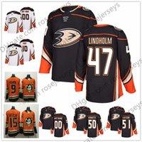 Wholesale Duck T - Anaheim Ducks #47 Hampus Lindholm 50 Antoine Vermette 71 J. T. Brown 2018 NEW Orange Black Home White Stitched Ice Hockey Jerseys S-60