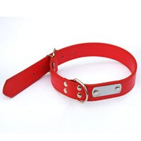 Wholesale Dog Leather Collars Xl - Black Red Blue Rose Brown Classic DIY lettering PU Leather Dog Collar Adjustable Pet Collars for Small Medium Big Dogs S M L XL