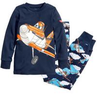 pijama infantil princesa al por mayor-2018 Conjuntos de ropa infantil Los mejores trajes de pijamas para niños Ropa de bebés Conjuntos de aviones princesa pijamas camisas de algodón + pantalones