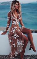 sexy tan spitze groihandel-2019 New Boho Abendkleider V-Ausschnitt 3/4 Long Sleeves Floral Appliques Tüll White Tan Beach Damen Kleid bodenlangen Abendkleider 431
