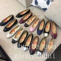 Wholesale Black Satin Ballet Flats - 2018 New Arrival Luxury women's Flat Bow Leather Lace Flat Ballet Shoes, Satin Face 15 Colors with original box dust bags fast shipping