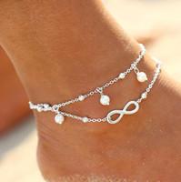 joyería de moda pulsera de perlas al por mayor-Pulsera del tobillo de la playa del verano de la manera de la vendimia Joyería infinita del pie Perla del grano Pulsera de cadena de plata del tobillo del oro de la cadena para las mujeres