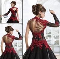 robe en jersey sans dos à col haut achat en gros de-Vintage noir et rouge victorienne gothique mascarade Halloween robes de soirée 2018 trou de serrure col haut manches longues robe de bal, plus la taille