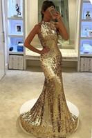 ingrosso eleganti abiti da sirena in oro-2018 New Elegant Long Silver Gold Sequined Prom Dresses Halter Mermaid Abito da sera Backless