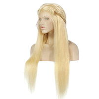 Wholesale 1b 613 front wig online - Brazilian Blonde Full Lace Human Hair Wig Blond B Lace Front Wigs B Lace Wig Bleached Knots Free Part