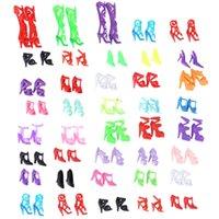 renkli sandaletler toptan satış-40 Pairs Mini Bebek Ayakkabı Moda Sevimli Renkli Karışık Topuklu Sandalet Ayakkabı Bebek Aksesuarları Kızlar için Oynamak Oyuncak Xmas Hediye