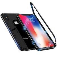 Wholesale iphone hard case for sale - 360 Magnetic magnet Adsorption metal Hard Case for iPhone X Plus S Glass Back Cover for iPhone Xs Max Xr