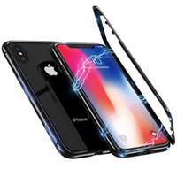 iphone case al por mayor-Estuche rígido de metal de adsorción con imán magnético 360 para iPhone X 8 Plus 7 6 6S + Cubierta posterior de vidrio para iPhone Xs Max Xr