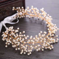 Wholesale baroque wedding dresses for sale - Group buy 2019 Latest Gold Hair Flowers For Wedding Party Bridal Bridesmaid Baroque chic Crystal Pearls Rhinestone headband Wedding Dress cm