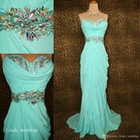 minze grünes schatzkleid großhandel-Mintgrünes Abendkleid Schöne Schatz-Chiffon-Kristalle Perlen Frauen tragen Kleid für besondere Anlässe Abend Party Kleid