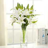 Wholesale artificial lilies - Silicone Vivid Real Touch 3 Head Lily Artificial simulation Lily Flower centerpieces Bridal bouquet Flower For Wedding Home Party Decoration
