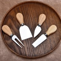 Wholesale metal cheese knife set resale online - New Cheese Knife Set with OAK Wood Handle Stainless Steel Cheese Slicer Cheese Cutter Knives Kitchen cooking tools set