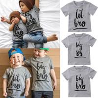 ropa de hermana mayor al por mayor-Verano Casual Little Big Sisters Brothers camiseta a juego Baby Kids Boy Girl camiseta de algodón Tops Ropa