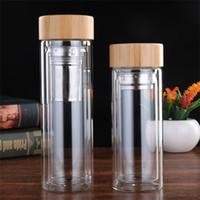 ingrosso tazza di acqua di bambù-Con Bamboo Lid Water Bottles Doppio Pareti Anti Scald Glass Tazzine Easy To Clean Trasparente portatile 20 5bd KK