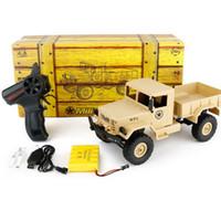 игрушки для детей оптовых-Рождество дети игрушка моделирование военный грузовик Rc 1: 16 мини 4WD восхождение грузовики WPL B14 внедорожный пульт дистанционного управления автомобили RTF Dropshipping