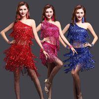 moda latina venda por atacado-Nova Moda Feminina Salão de Dança de Dança Traje de Samba 3 pcs Set com Mangas de Colar Lantejoulas Latina Dança Salão de Baile Tango Vestidos