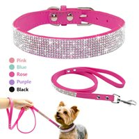 Wholesale Jeweled Leather Dog Collars - Wholesale-Didog Suede Leather Puppy Dog Collar Leash Set Adjustable Rhinestone Cat Collars Walking Leashes For Small Medium Pets XS S M