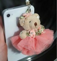 Wholesale dust stopper iphone for sale - Group buy Lovely teddy bear mm Anti Dust Plug Cover Stopper Charm iPhone