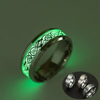 Wholesale Chinese Dragon Luminous fluorescent Titanium Steel Rings Luxury Upscale Rings Men Steel Business Type Fashion Jewelry