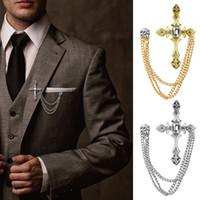 zincir aksesuarlarına uyuyor toptan satış-Erkek Taklidi Çapraz Zincir Broş Yaka Pin Gömlek Takım Elbise Düğün Aksesuar Hediye