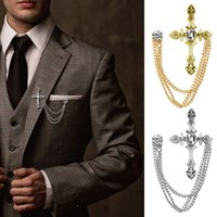 Wholesale suits chain accessories resale online - Men s Rhinestone Cross Chain Brooch Lapel Pin Shirt Suit Wedding Accessory Gift