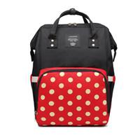 горошек рюкзак для ребенка оптовых-Lequeen Мумия рюкзак мама рюкзак полька Dot многофункциональный пеленки младенца сумки мама подгузник изменение сумки мамы беременных рюкзаки MPB52