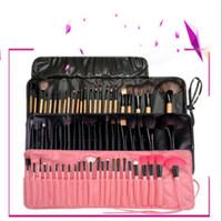 Wholesale eyeshadow leather case - 24pcs Makeup Brushes Set Professional Eyeshadow Brush Kit With Leather Bag Case Makeup Brushes Sets OOA4887
