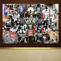 ölgemälde rahmen für schlafzimmer großhandel-Abstrakte Banksy Graffiti Kunst Ölgemälde, HD Leinwand Home Decoration Wohnzimmer Schlafzimmer Wandbilder Malerei (kein Rahmen)