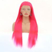 ingrosso parrucca lunga rosa chiara-Parrucche per capelli lunghi per le donne Rosa chiaro naturale Hairline Fibra resistente al calore Capelli lunghe parrucche sintetiche diritte pizzo frontale dritto