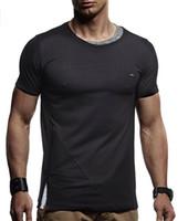 Wholesale cotton lycra shirts wholesale - Muscle Man Tee Cotton Athletic Casual Mens Fitness Shorts T-shirt Summer Zipper Design Fitness Leisure Curve T-shirt