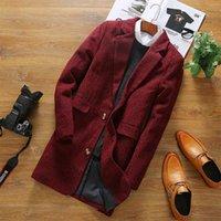 Wholesale Gothic Winter Jacket - Wholesale- Korean Male Jacket Warm Coat Mens Long Leather Trench Men Nylon Coats Organic Full Length Loose 2017 Lace Winter For Gothic f23