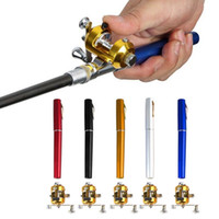 Wholesale Mini Pocket Fishing Pole - Mini Fishing Rod Fishing Accessories Mini Telescopic Portable Pocket Fish Pen Aluminum Alloy Fishing Rod Pole + Reel