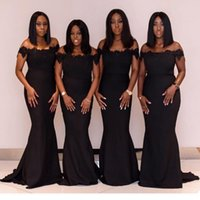 nigerian spitze brautjungfer kleider großhandel-African Nigerian Plus Size Brautjungfernkleider Perlen Schulterfrei Applikationen Spitze Trauzeugin Meerjungfrau Brautjungfer Kleid Vestidos