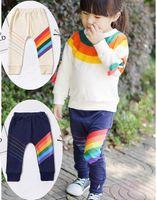 гетры синего малыша оптовых-INS детские Радуга брюки дети девочка мальчик теплые узкие леггинсы малыш синий бежевый длинные брюки 5size