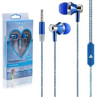 Wholesale Huawei Headphones - Universal 3.5mm earphones headphones aluminum foil cable in ear earbuds headset with mic for samsung lg huawei mobile phones New arrival