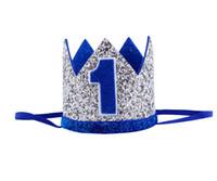 ingrosso cappelli di compleanno blu-Ragazzi primo compleanno argento blu corona bambini blu dorato 1 ° compleanno ragazzo vestito per torta Smash Sparkle Royal Birthday Party Hat