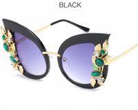 Wholesale vintage pink diamond - Fashion Cat Eye Sunglasses Women Diamond Frame Vintage Brand Designer Luxury Sun Glasses For Women Mirror Oculos De Sol #6698